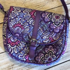 Vera Bradley Slim Saddle Bag Lilac Tapestry Purple